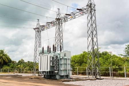conductor electricity: Transformer station and the high voltage electric pole