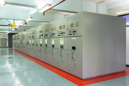 electric wire: Electrical energy distribution substation in a power plant