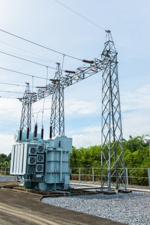 Transformer station and the high voltage electric pole photo