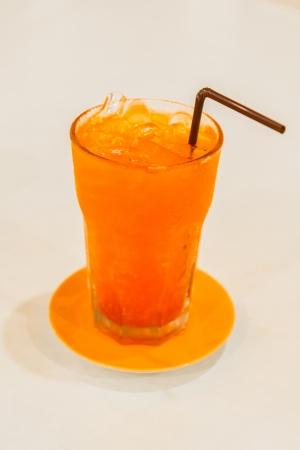 cold iced lemon tea on table at restaurant photo