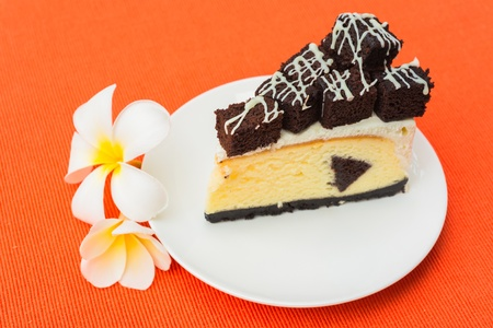 A piece of brownie cheesecake photo