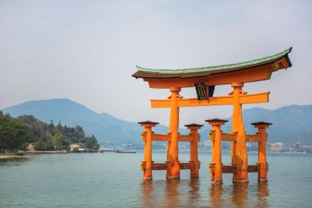 Holy gate  Torii  at Miyajima islands  Landmark of Hiroshima, Japan
