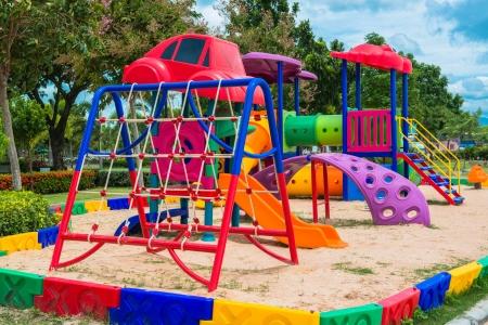Children s playground at public park Standard-Bild