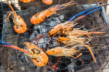Grilled shrimps on process photo