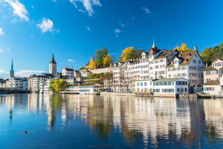 Limmat river and famous Zurich churches Stock Photo