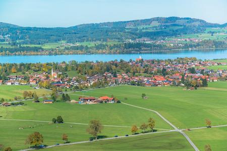 schwangau: Bavaria landscape from Neuschwanstein castle  Schwangau village and Forggensee lake on background