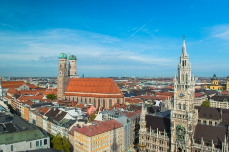 Aerial view of Munchen  New Town Hall and Frauenkirche  photo
