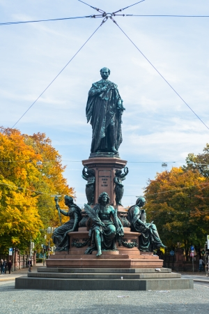 Monument of King Max II in Munich, Maximilian street  The statue was built 1875 by Ferdinand von Miller