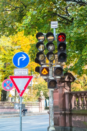 Traffic sign and traffic lamps photo