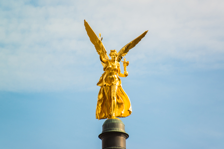 the golden angel of peace  Friedensengel   in Munich in Bavaria  photo