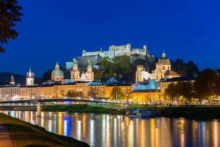 Twilight view of Salzburg old town, Austria Stock Photo