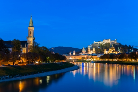 Twilight view of Salzburg old town, Austria photo