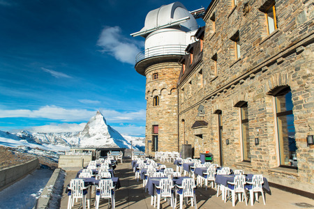 chocolate peak: The Gornergrat Observatory and Matterhorn peak, Zermatt Switzerland