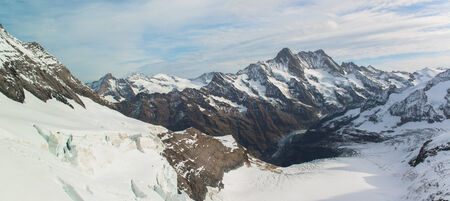 aletsch: Panorama Scenic of Great Aletsch Glacier Jungfrau region Stock Photo