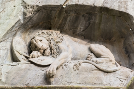 Dying lion monument in Lucerne, Switzerland  Imagens