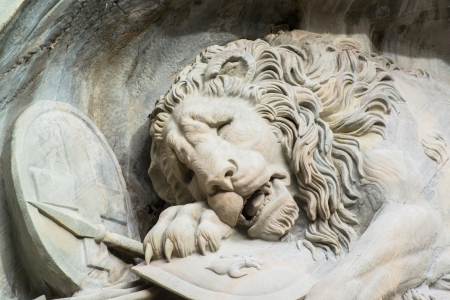 stone lion: Dying lion monument in Lucerne, Switzerland  Stock Photo