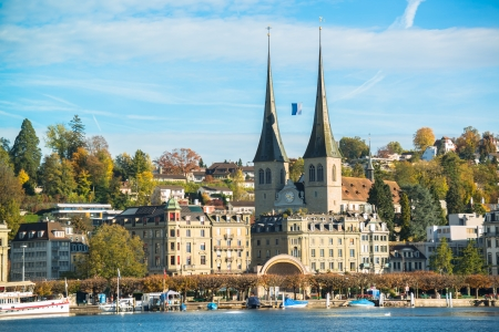 lucerne: Panoramic view of old town of Lucerne, Switzerland