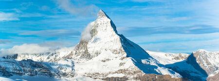 pyramid peak: Matterhorn peak, Zermatt, Switzerland  Stock Photo