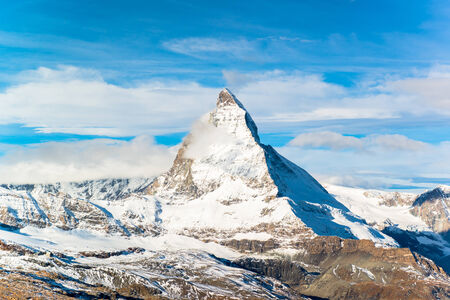 pyramid peak: Matterhorn peak, Zermatt, Switzerland  Stock Photo