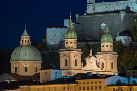 Night view of Salzburg old town, Austria photo