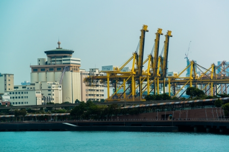 SINGAPORE - JANUARY 26  Singapore industrial port on January 26, 2014 in Singapore  It s world s busiest port in terms of total shipping tonnage, transfers fifth of the world shipping containers