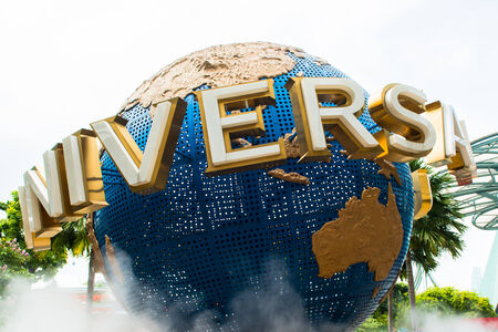 universal: large rotating globe fountain in front of Universal Studios Editorial