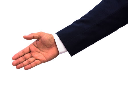 businessman with open hand and ready to shake your hand  photo