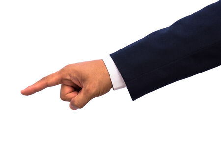 isolated hand pointing to something with clipping path  photo