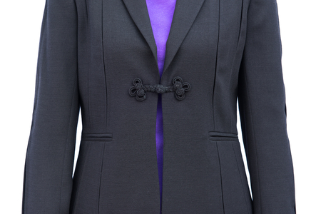 estimating: Business lady in a business suit on a dark background