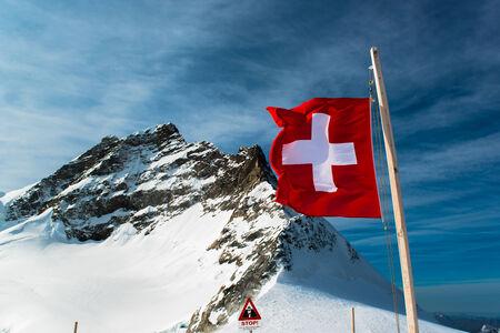 jungfraujoch: Alpine Alps mountain landscape at Jungfraujoch, Top of Europe Switzerland