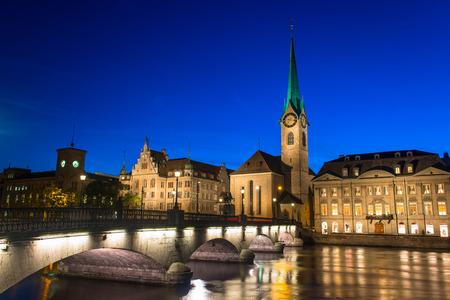 Zurich Skyline and the River Limmat in the Evening  Switzerland