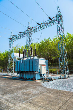 insulators: Transformer station and the high voltage electric pole