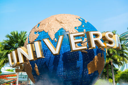 large rotating globe fountain in front of Universal Studios