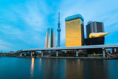 sumida: View of Tokyo skyline from Sumida river