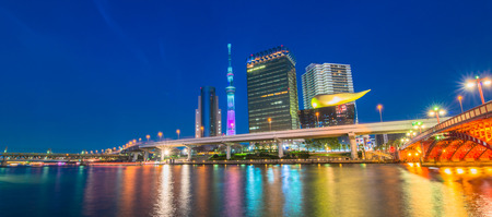 oshiage: View of Tokyo skyline from Sumida river
