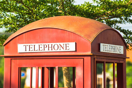 Classic red telephone booth  photo
