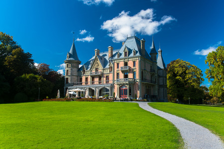canton: Beautiful Schadau Castle in the Thun city, Canton Bern, Switzerland