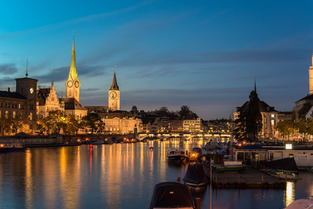 munster: Twilight view of Zurich