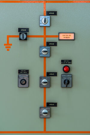 dms: control meter display at Power station Stock Photo