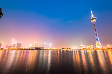 timelapse: Macau tower, the famous landmark of Macau with the illumination shows Editorial