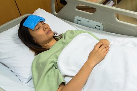 hospital trolley: Sick patient on gurney Stock Photo