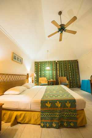 south male atoll: Interior of the tropical villa bedroom in South male atoll of Maldives Editorial
