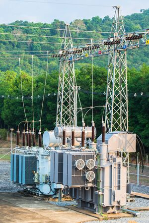 Transformer station and the high voltage electric pole Stock fotó
