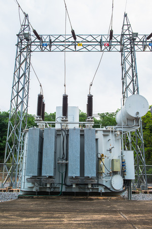 high voltage current: Transformer station and the high voltage electric pole