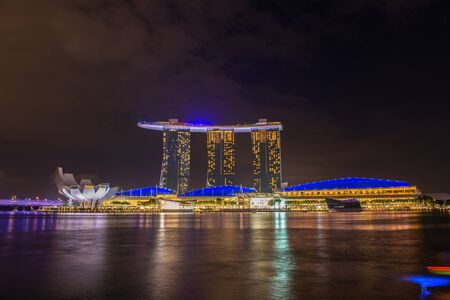 nightscape: Nightscape of Singapore downtown at Marina bay