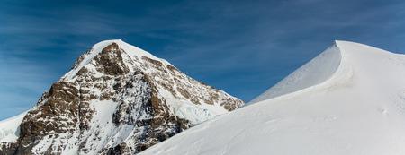 aletsch: Panorama Scenic of Great Aletsch Glacier Jungfrau region Stock Photo