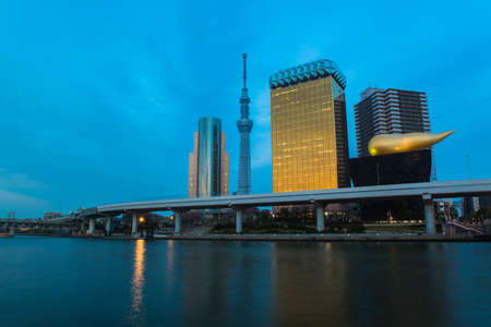 sumida ward: View of Tokyo skyline from Sumida river