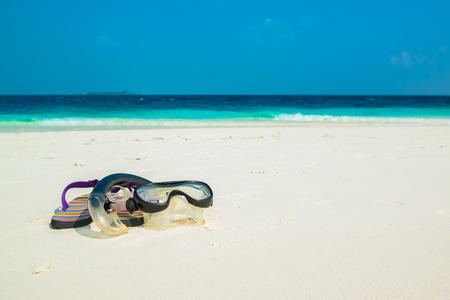 atoll: Sand beach and ocean wave, South Male Atoll. Maldives