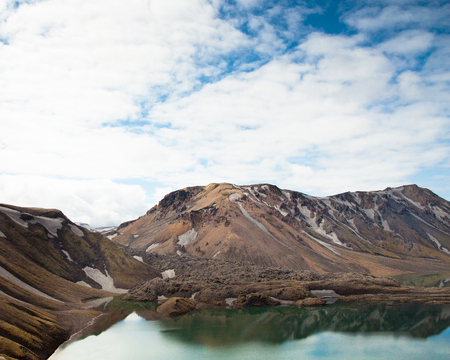 Beautiful lake in Iceland at hiking trailhead with sky Stock Photo