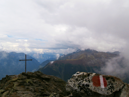 far sighted: Summit cross with austrain trail mark and perfect view